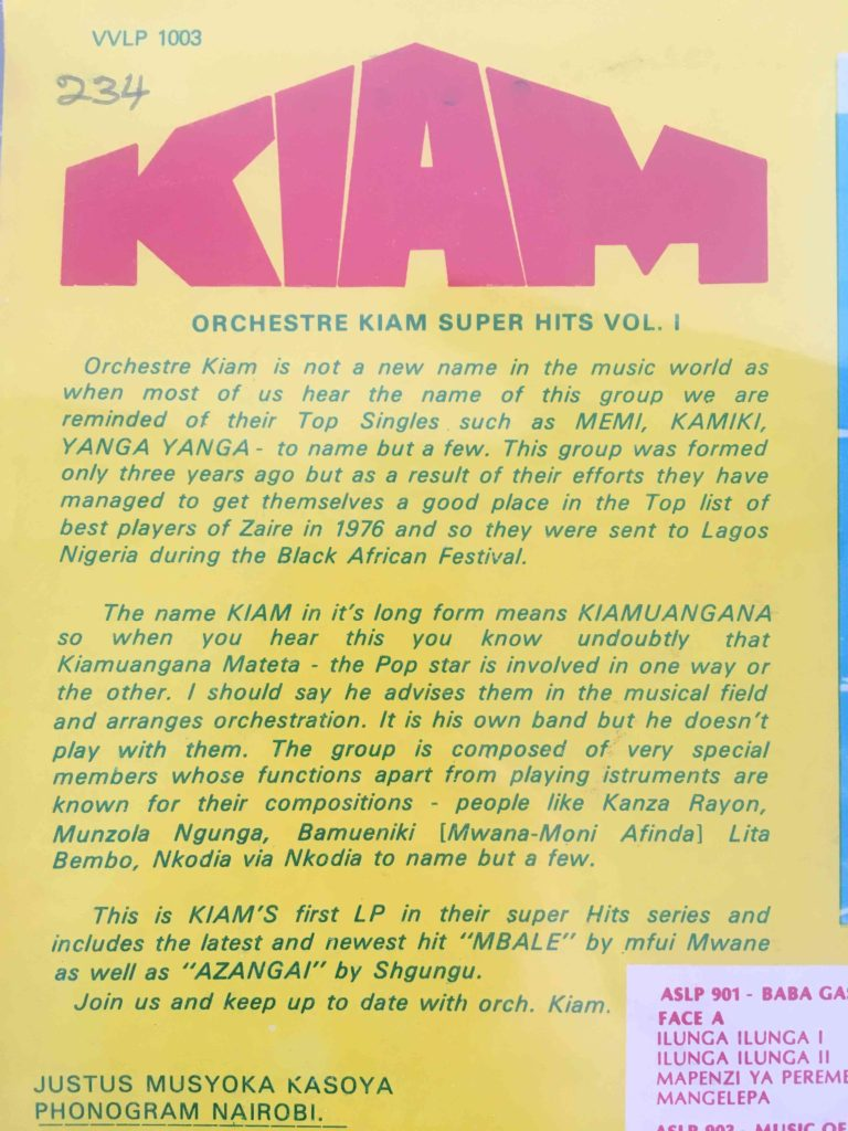 Orchestre Kiam Super Hits Vol. 1 Back Cover